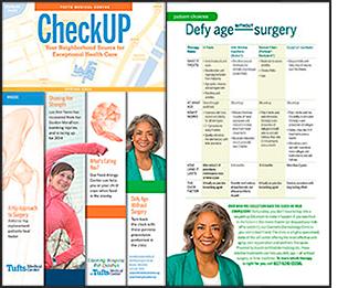 Tear Sheet, Tufts Medical Center, CheckUp brochure showing portrait retouching/
