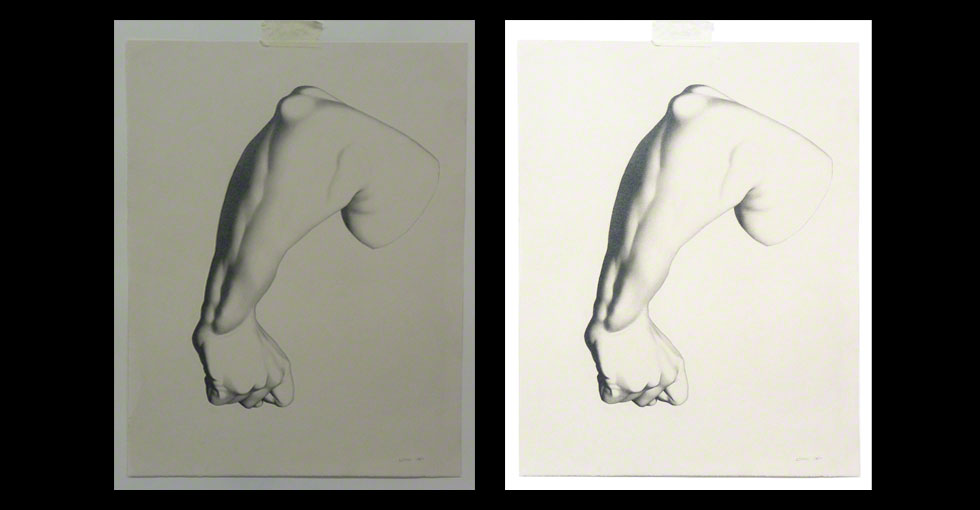 Before and After if Under-Exposed Bargue Drawing of Arm
