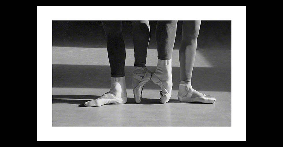 Close up of female and male ballet dancer's feet
