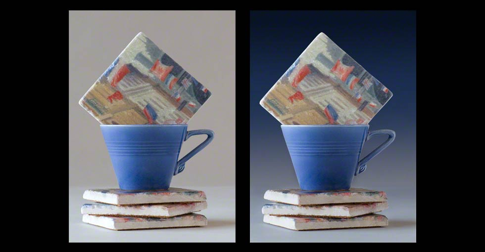 Art coasters advertising photo Before and After