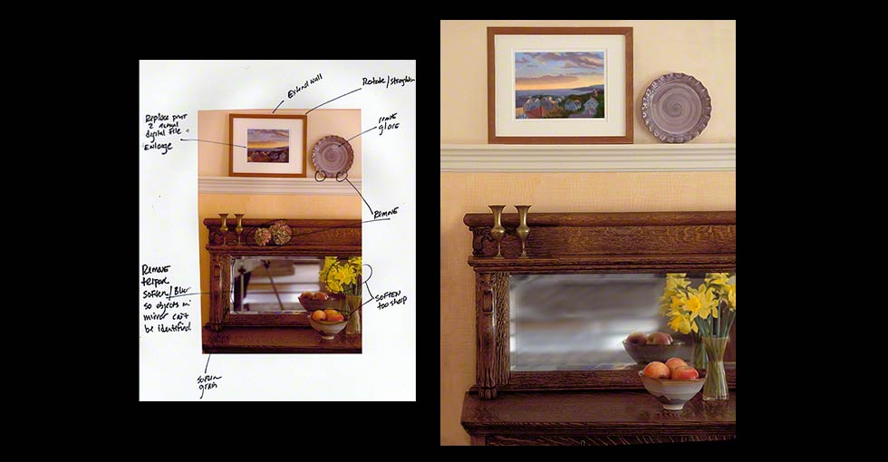 Before and after retouching instructions for catalog photography