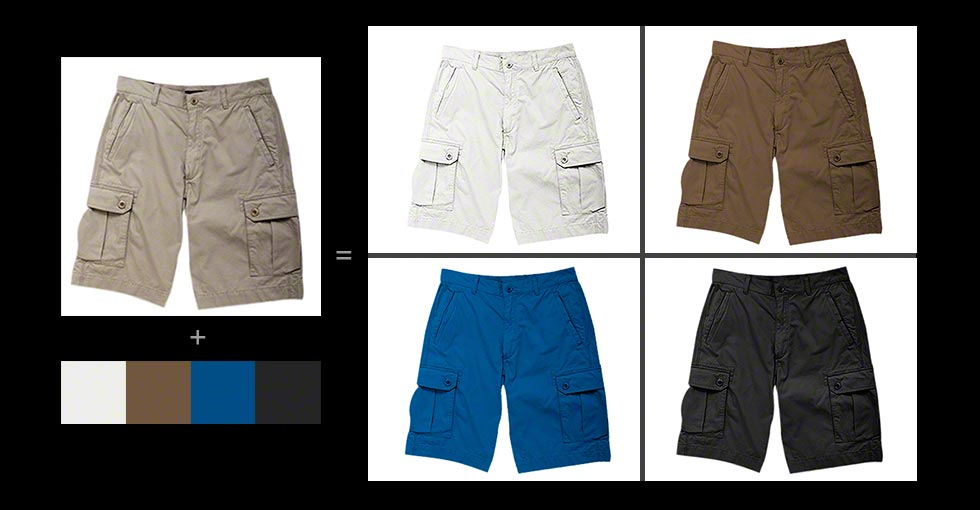 Photo retouching to change the color of an item Before and After