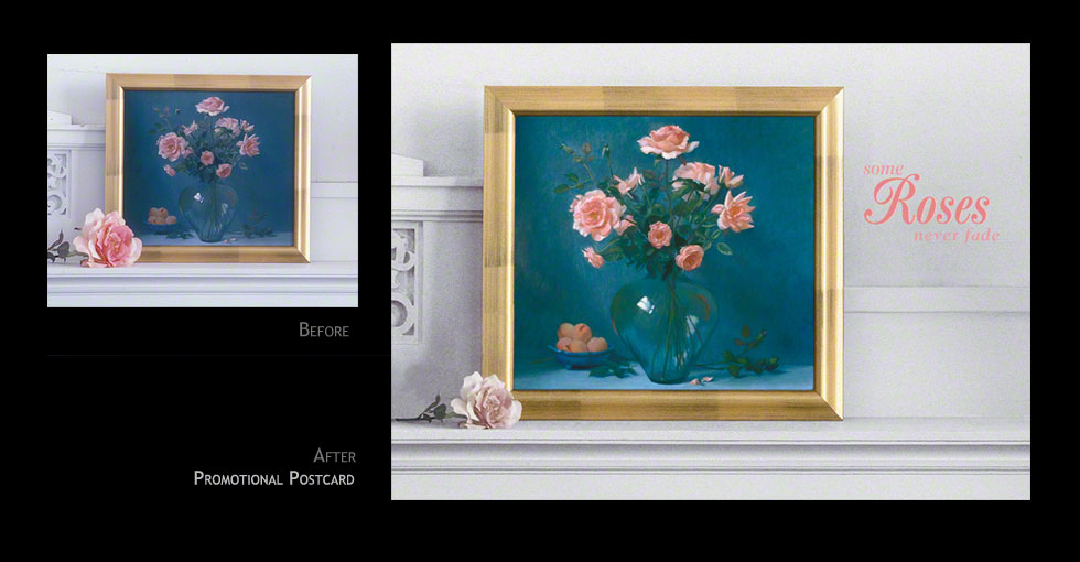 Rose painting reproduction on mantle