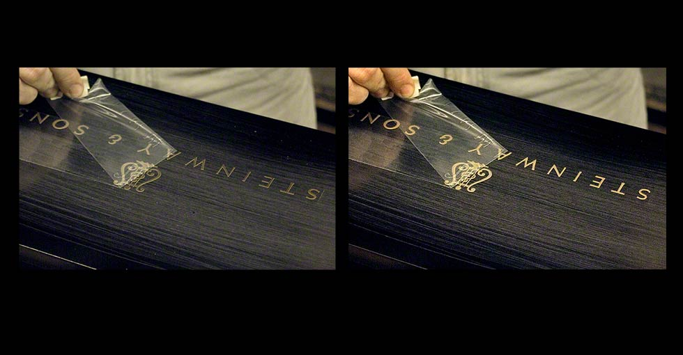 Retouching gold lettering Before and After
