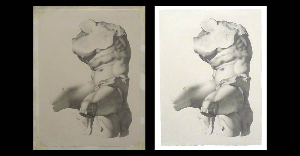 Under-Exposed Bargue Drawing of Torso Before and After